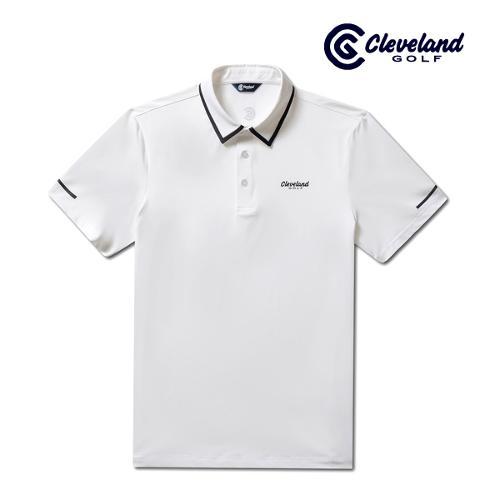 [클리브랜드골프] 카라배색 냉감스판 남성 반팔 티셔츠/골프티셔츠/골프웨어_CGKMTS731-WH