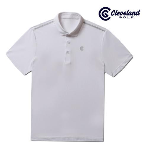 [클리브랜드골프] 심플배색 냉감스판 카라넥 남성 반팔 티셔츠/골프티셔츠/골프웨어_CGKMTS730-WH
