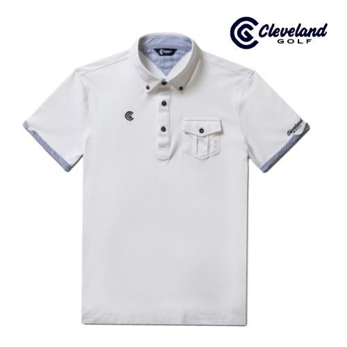 [클리브랜드골프] 롤업소매 가슴포켓 셔츠카라넥 남성 반팔 티셔츠/골프티셔츠/골프웨어_CGKMTS733-WH