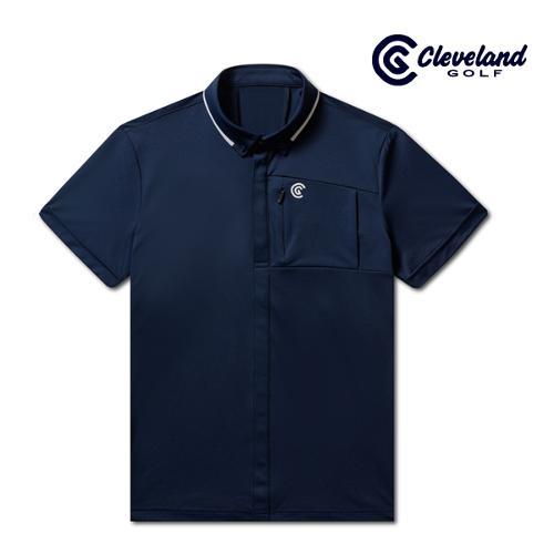 [클리브랜드골프] 풀버튼 남방형 라이트쿨 남성 반팔 티셔츠/골프티셔츠/골프웨어_CGKMTS734-NA