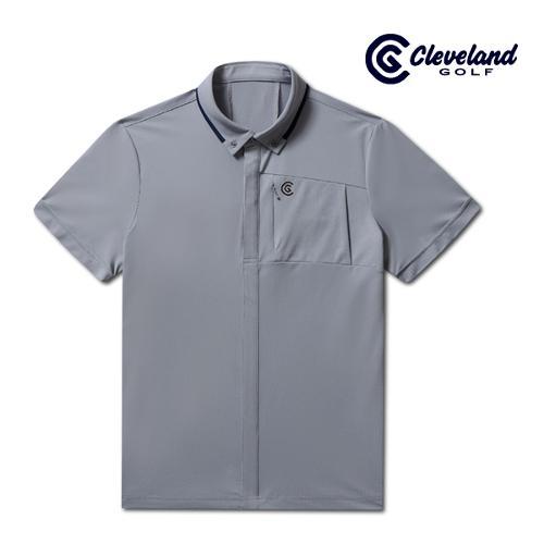 [클리브랜드골프] 풀버튼 남방형 라이트쿨 남성 반팔 티셔츠/골프티셔츠/골프웨어_CGKMTS734-GY