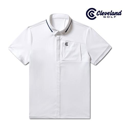[클리브랜드골프] 풀버튼 남방형 라이트쿨 남성 반팔 티셔츠/골프티셔츠/골프웨어_CGKMTS734-WH