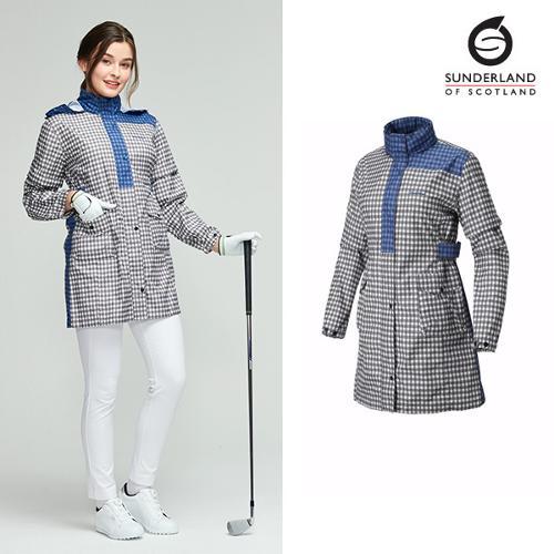 선덜랜드 여성 배색 체크무늬 심실링 소매탈부착 레인코트/사파리비옷(후드삽입형) - 16812RC22