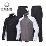 선덜랜드 남성 투톤 배색 심실링 소매탈부착 레인자켓/비옷 상하의세트(후드삽입형) - 16811RW01