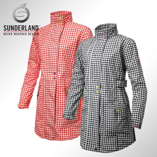 선덜랜드 여성 최고급 완벽방수 심실링처리 체크무늬 버튼포인트 레인코트/사파리비옷 - 16412RC23
