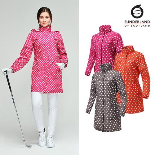 선덜랜드 여성 최고급 완벽방수 심실링처리 도트무늬 소매탈부착 레인코트/사파리비옷 - 16412RC22