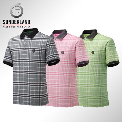 [Sunderland Of Scotland] 선덜랜드 남성 3버튼 체크무늬 카라 반팔티셔츠 - 16321TS01