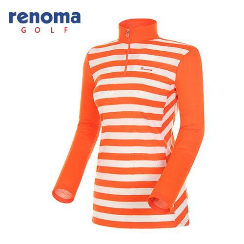 [레노마골프]여성 블록 스트라이프 반집업 긴팔 티셔츠 RATS63511-OR