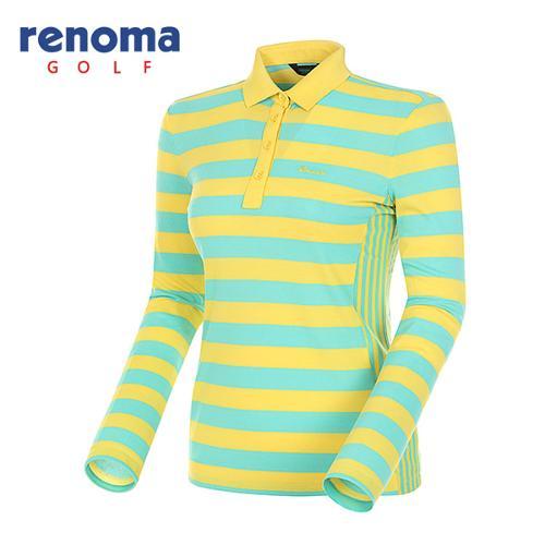 [레노마골프]여성 블록 스트라이프 긴팔 피케 티셔츠 RATS52511-LY