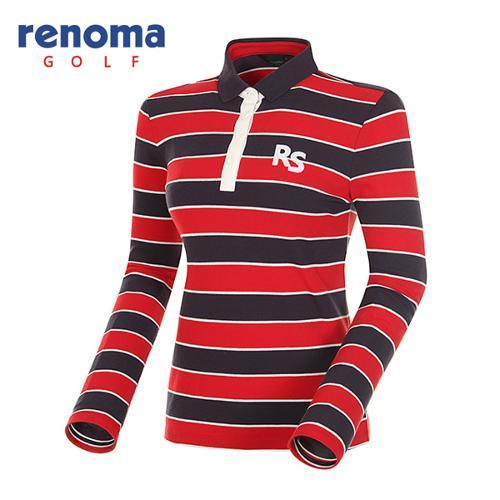 [레노마골프]여성 스트라이프 코튼 피케 긴팔 티셔츠 RATS64611-RD