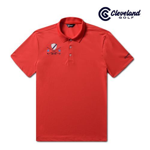 [클리브랜드골프] 라이트쿨 스트라이프카라 방패로고 남성 반팔 티셔츠/골프티셔츠/골프웨어_CGKMTS732-RD