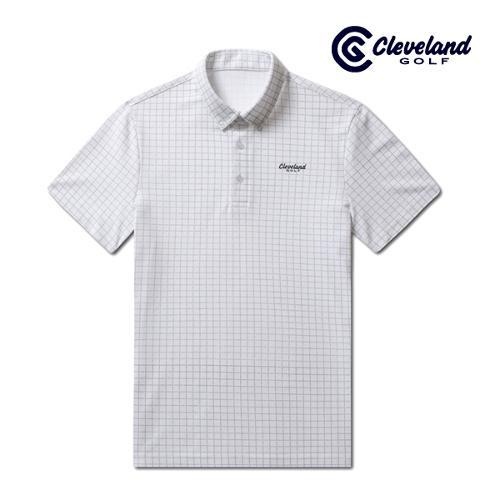 [클리브랜드골프] 사각체크 면폴리피케 남성 반팔 티셔츠/골프티셔츠/골프웨어_CGKMTS722-WH