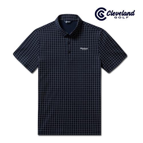 [클리브랜드골프] 사각체크 면폴리피케 남성 반팔 티셔츠/골프티셔츠/골프웨어_CGKMTS722-NA