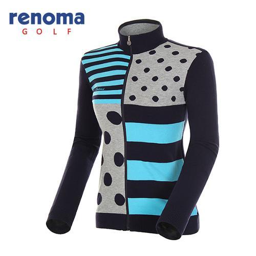 [레노마골프]여성 패턴 믹스 코튼 집업 스웨터 RAKC52511-NY