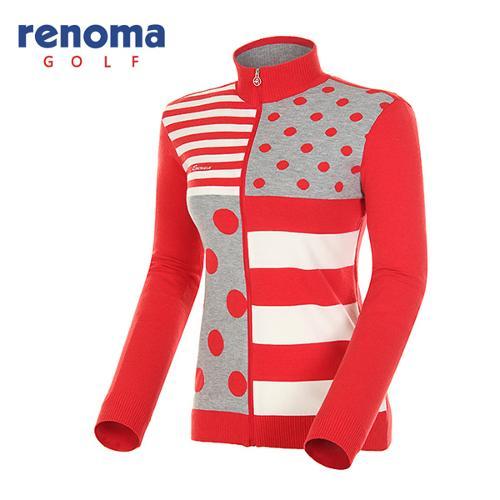 [레노마골프]여성 패턴 믹스 코튼 집업 스웨터 RAKC52511-RD