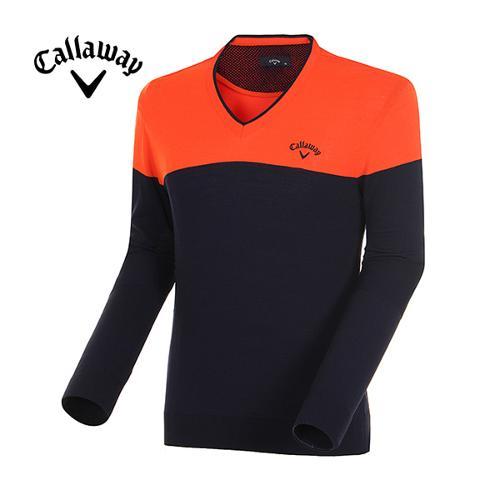 [캘러웨이]남성 컬러 블록 브이넥 스웨터 CMSRE1204-301
