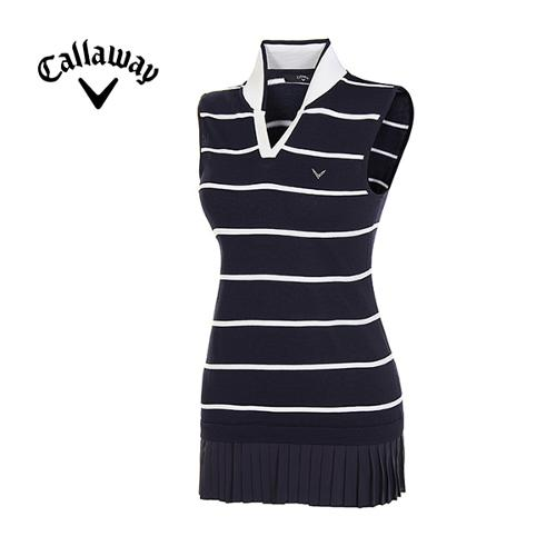 [캘러웨이]여성 플리츠 헴 스트라이프브이넥 롱 스웨터 CWSRE5252-915