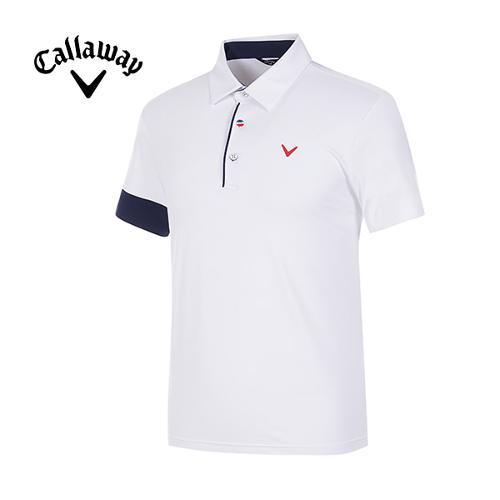 [캘러웨이]남성 컬러 포인트 냉감 반팔 티셔츠 CMTYG2121-100