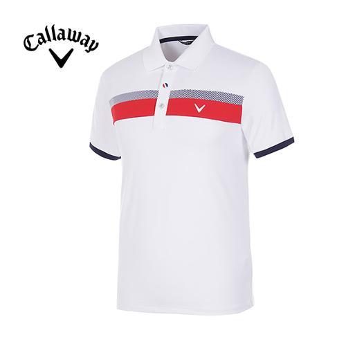 [캘러웨이]남성 스트라이프 스포티 반팔 카라 티셔츠 CMTYG2122-100