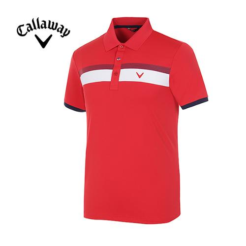 [캘러웨이]남성 스트라이프 스포티 반팔 카라 티셔츠 CMTYG2122-500