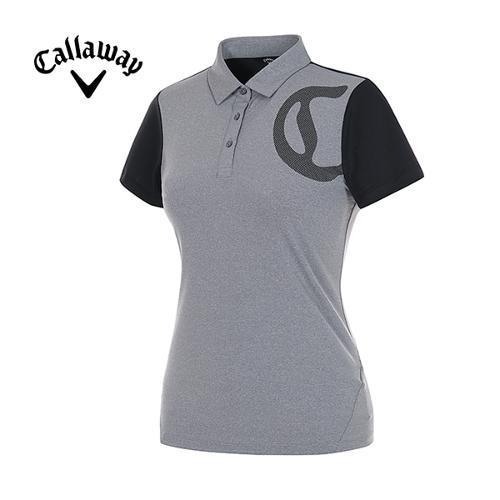 [캘러웨이]여성 도트 로고 배색 반팔 카라 티셔츠 CWTYG6176-193
