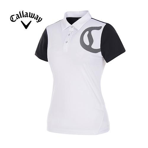 [캘러웨이]여성 도트 로고 배색 반팔 카라 티셔츠 CWTYG6176-100