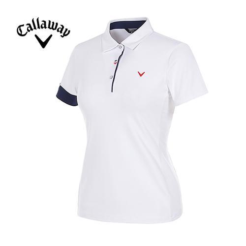 [캘러웨이]여성 컬러 포인트 냉감 반팔 티셔츠 CWTYG6111-100