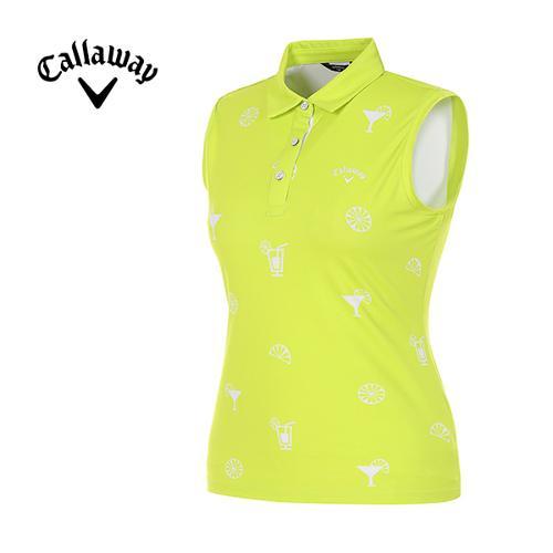 [캘러웨이]여성 프린트 슬리브리스 카라 티셔츠 CWTYG6115-204