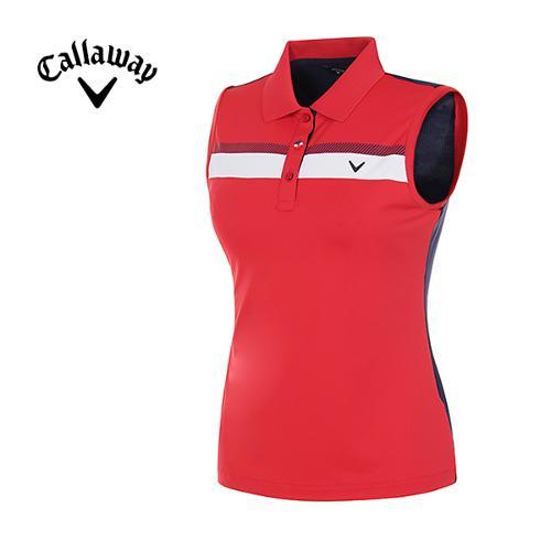 [캘러웨이]여성 스트라이프 슬리브리스 카라 티셔츠 CWTYG6112-500