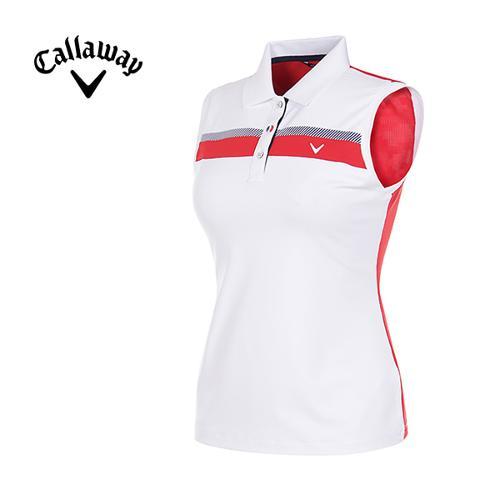 [캘러웨이]여성 스트라이프 슬리브리스 카라 티셔츠 CWTYG6112-100