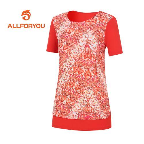 [올포유]여성 지오메트리컬 반팔 티셔츠 AWTRE6167-301
