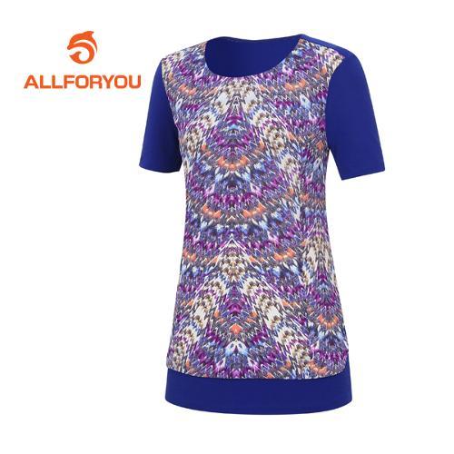 [올포유]여성 지오메트리컬 반팔 티셔츠 AWTRE6167-906