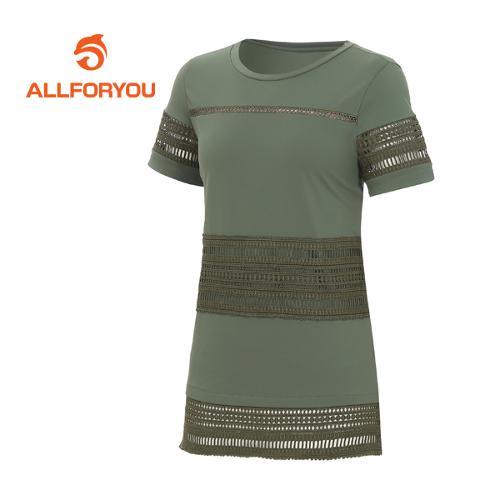 [올포유]여성 레이스 포인트 반팔 티셔츠 AWTRE6178-816