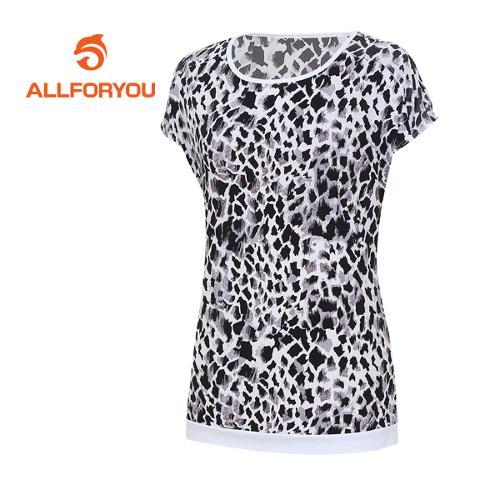 [올포유]여성 호피 패턴 반팔 티셔츠 AWTRE6166-100