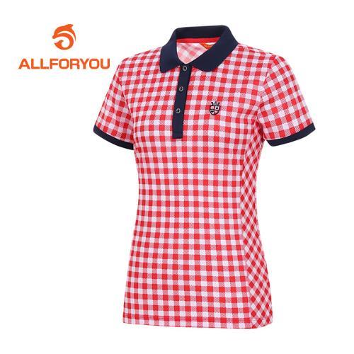 [올포유]여성 깅엄 체크 반팔 티셔츠 AWTPE6105-500