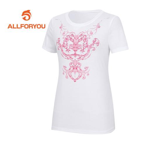 [올포유]여성 문양 프린트 반팔 티셔츠 AWQTE6191-100