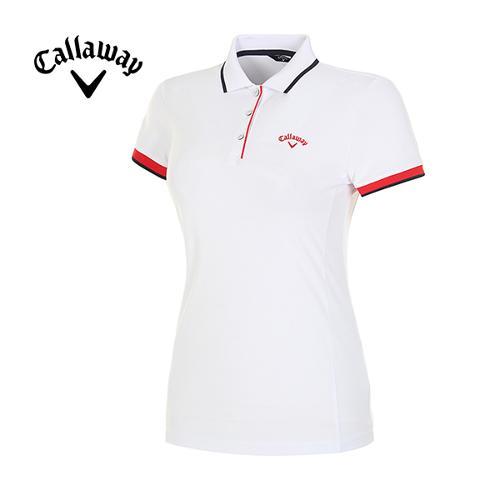 18SS 여성 배색 라인 반팔 카라 티셔츠 CWTPH6101-100