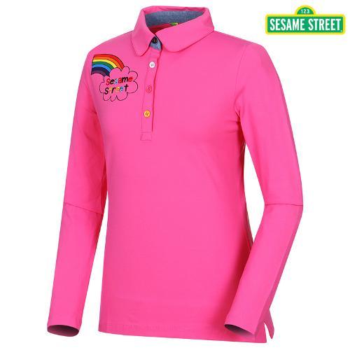[세서미]여성 무지개프린트 카라넥 티셔츠(S5SLTS954-PK)