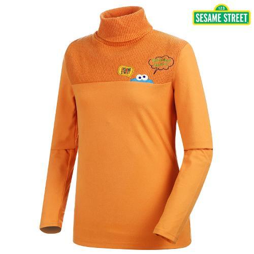 [세서미] 여성 니트 배색 터틀넥 티셔츠(S5FLSP169-OR)