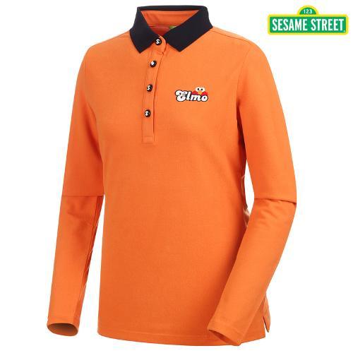 [세서미] 여성 카라 배색 캐주얼 티셔츠(S5FLTS051-OR)