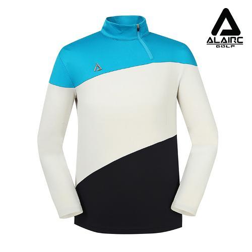 [알레어 골프] 남성 사선 배색 컬러 반짚업 티셔츠(AMB3TP103-TBL)