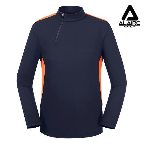 [알레어 골프] 남성 배색 터틀넥 반짚업 티셔츠(AMB3TP106-NY)