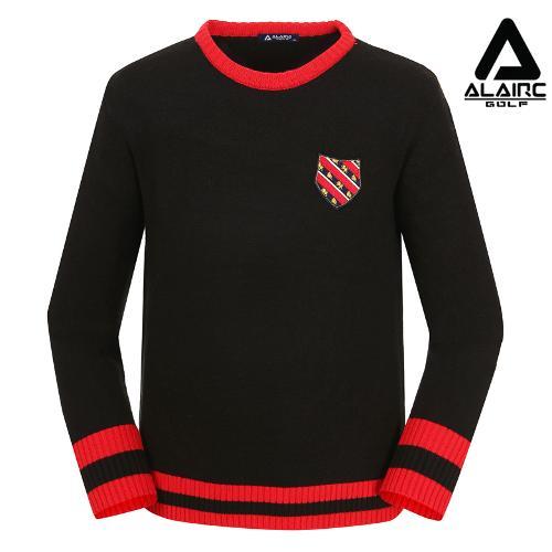 [알레어 골프] 남성 패치 배색 라운드 니트(AMB3SP301-BK)