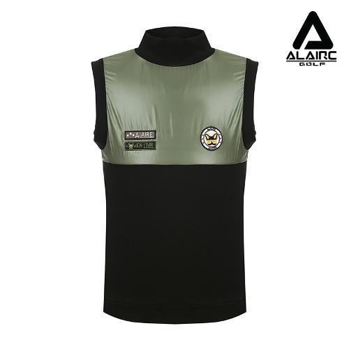 [알레어 골프] 남성 광택 배색 패치장식 베스트(AMC1WV801-BK)