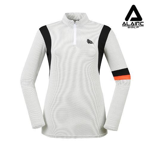 [알레어 골프] 여성 배색 점선 반짚업 티셔츠(AFB1TP101-WH)