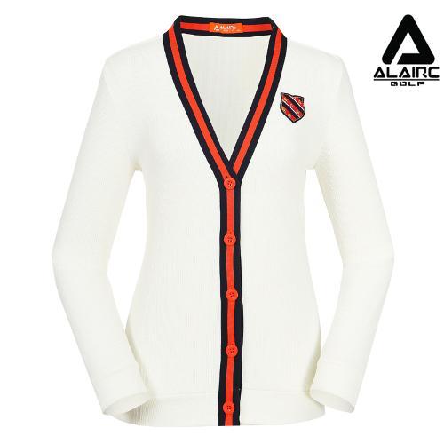[알레어 골프] 여성 배색 니트 브이넥 가디건(AFB3SC103-WH)