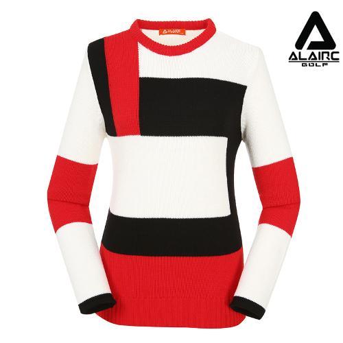 [알레어 골프] 여성 사각 패턴배색 라운드 니트(AFB3SP305-WH)