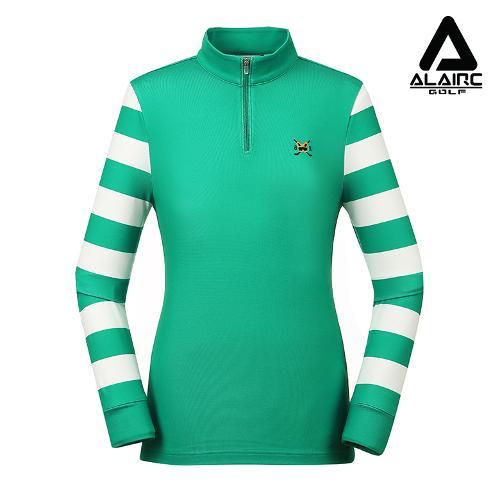 [알레어 골프] 여성 스트라이프 배색 반짚업 티셔츠(AFB3TP102-GN)