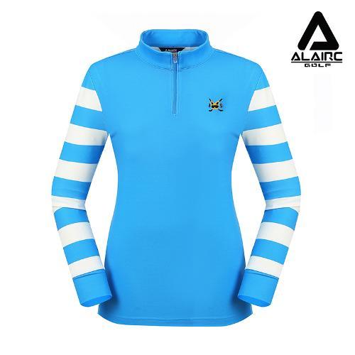 [알레어 골프] 여성 스트라이프 배색 반짚업 티셔츠(AFB3TP102-SBL)