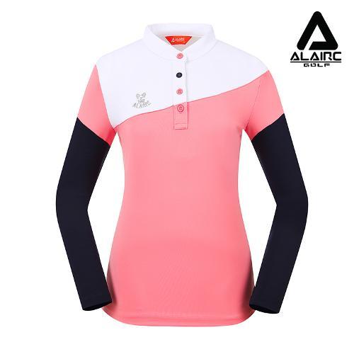 [알레어 골프] 여성 배색 사선 차이나카라 티셔츠(AFB3TP103-PK)